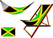 jamaica hammock and deck chair set against white background abstract vector art illustration poster