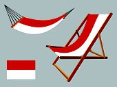 indonesia hammock and deck chair set against gray background abstract vector art illustration poster