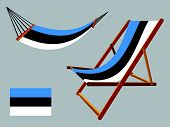 estonia hammock and deck chair set against gray background abstract vector art illustration poster