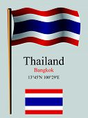 thailand wavy flag and coordinates against gray background vector art illustration image contains transparency poster