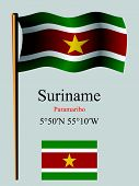 suriname wavy flag and coordinates against gray background vector art illustration image contains transparency poster