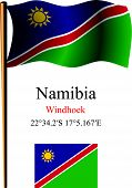 namibia wavy flag and coordinates against white background vector art illustration image contains transparency poster