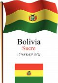 bolivia wavy flag and coordinates against white background vector art illustration image contains transparency poster