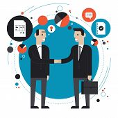 Flat design style modern vector illustration concept of successful financial partnership business people cooperation agreement teamwork solution and hand shaking of two businessman. Isolated on stylish background poster