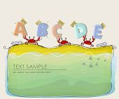 crabs on the beach holding abc background poster