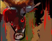 Digital painting of blood dropping from cow's eye poster