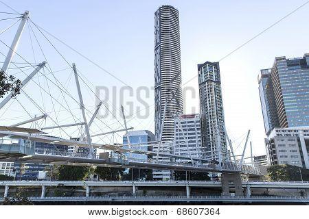 Brisbane Kurilpa bridge over the Brisbane river