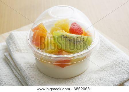 Pudding fresh fruit salad , fusion dessert poster