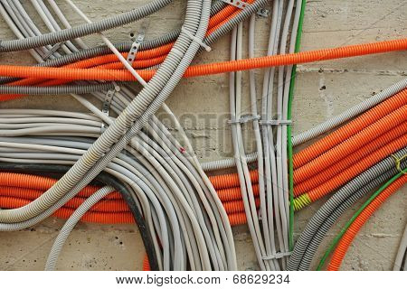 Cables on walls in new house