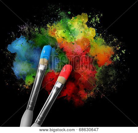 Paintbrushes With Paint Splatters On Black