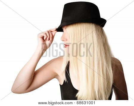 Pretty Girl With Fashion Hat And Hair On White