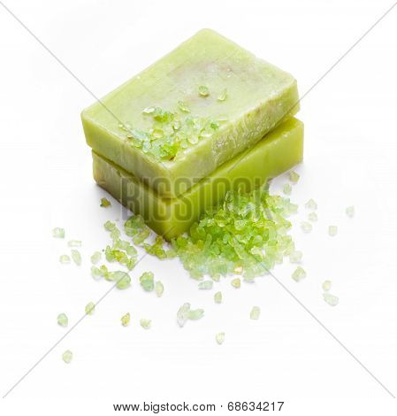 Handmade green soap with seasalt isolated on white background poster