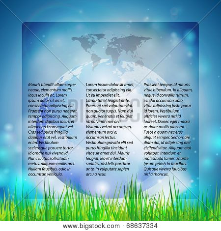 Blue Abstract background of globe with grass, template with world map icon  vector illustration for mass media. poster