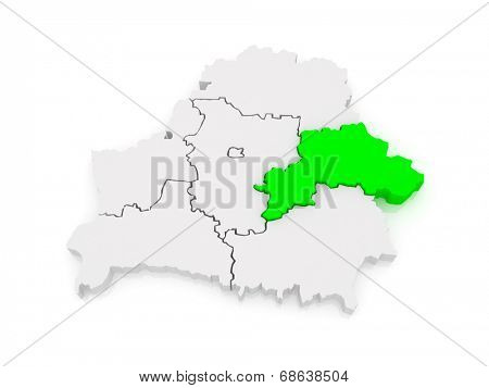 Map of Mogilev region. Belarus. 3d poster