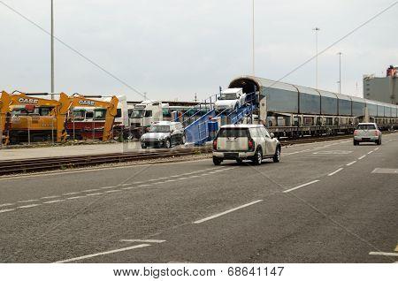 Mini Cars unloaded, Southampton Docks
