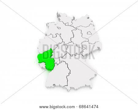 Map of Rheinland-Pfalz. Germany. 3d