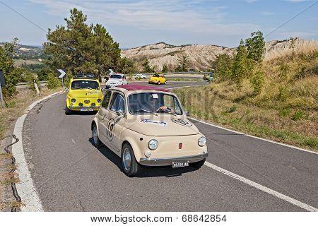 Line Of Vintage Fiat 500