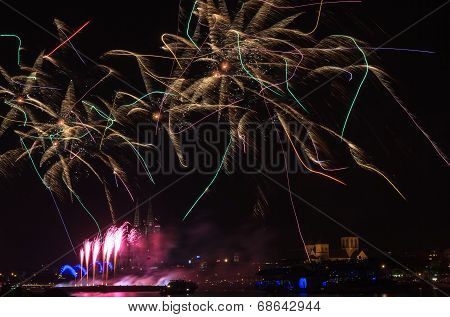 Colorful Firework Over The Rhine River