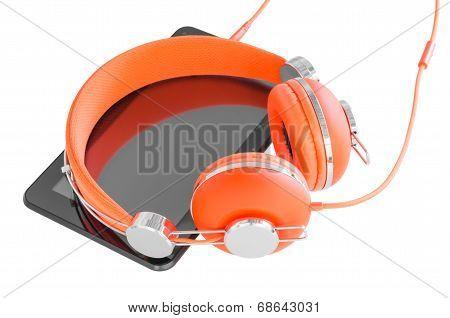 Vivid Orange Headphones And Black Tablet PC