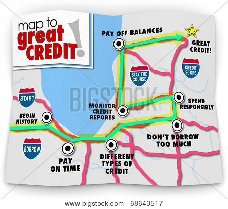Map to Great Credit words road directions improving your score rating loan mortgage