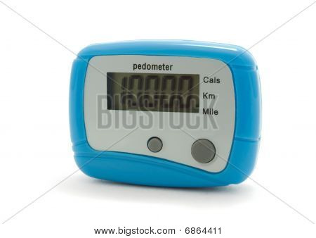 Blue digital pedometer displaying 10000 steps - daily norm poster