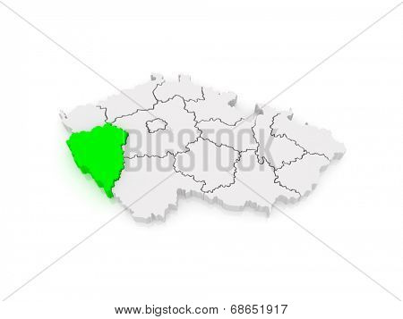 Map of Plzen Region. Czech Republic. 3d poster