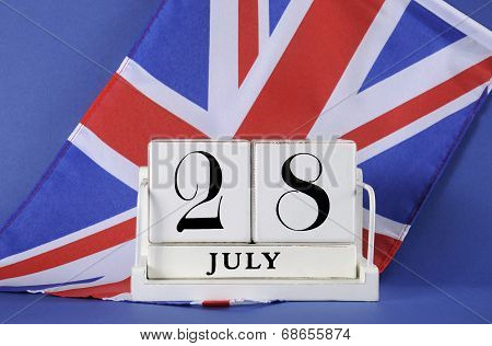 Vintage style white block calendar for 28 July start of World War I centenary 1914 to 2014 with the English UK Union Jack flag. poster
