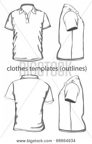 Mens polo shirt design template vector photo bigstock mens polo shirt design template front back and side view outline pronofoot35fo Choice Image