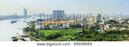 Panoramic view of Bangkok with Chao Phraya River Thailand poster