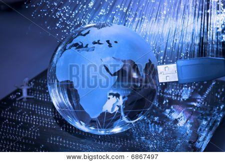Internet technology earth globe