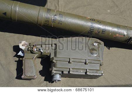 KIEV, UKRAINE - JULY 13, 2014 Captured from Eastern regions during Civil War Polish anti airckraft rocket launcher Grom - evidence Polish supply of insurgents. July 13, 2014 Kiev, Ukraine