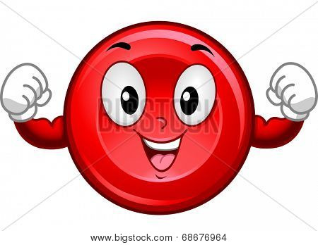 Mascot Illustration Featuring a Red Blood Cell Flexing its Muscles