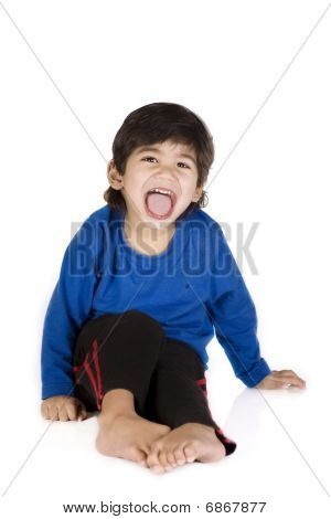 Little Boy Sitting, Isolated
