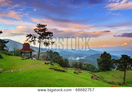 Beautiful sunset on hight mountains at Huai Nam Dang national park in Chiang Mai province of Thailand poster
