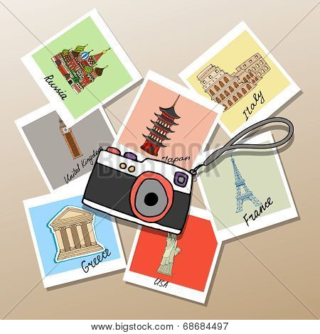 Camera with photographs of global landmarks