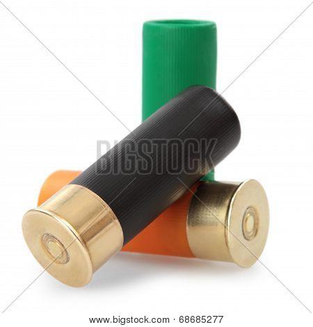 shotgun cartridges  - isolated on white background poster