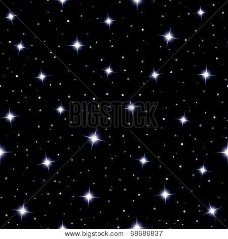 Celestial seamless background with sparkling stars glittering on a dark blue sky  in the night poster