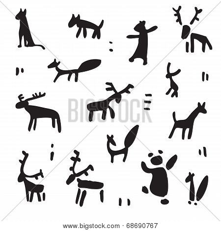 Siberia. Primitive painting set. Hand drawn vector illustration. Design element. poster