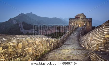Great Wall of China Jinshanling in the evening.