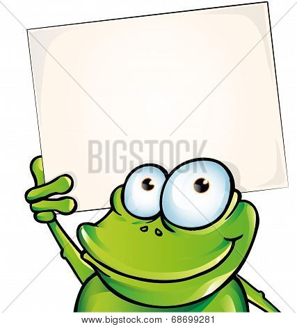 funny frog with signboard isolated on white background poster
