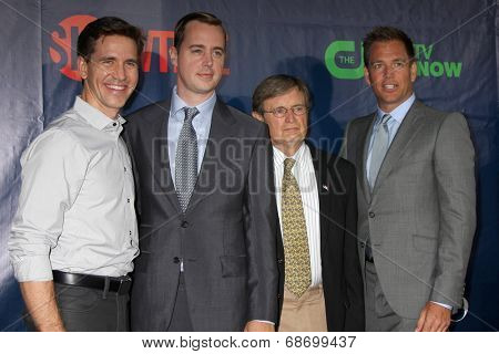 LOS ANGELES - JUL 17:  Brian Dietzen, Sean Murray, David McCallum, Michael Weatherly at the CBS TCA July 2014 Party at the Pacific Design Center on July 17, 2014 in West Hollywood, CA