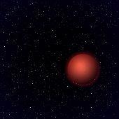 Cartoon Mars planet in open space. Vector background poster