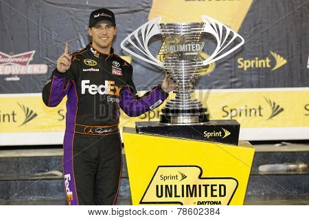 Daytona Beach, FL - Feb 15, 2014:  Denny Hamlin (11) wins the Sprint Unlimited at Daytona International Speedway in Daytona Beach, FL.