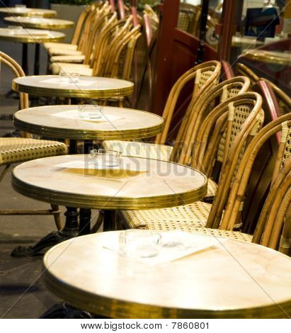 Night Scene Paris France Cafe Setting Tables Chairs