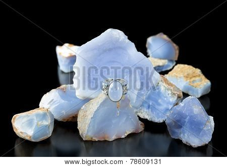 Blue Chalcedony Ring And Rough