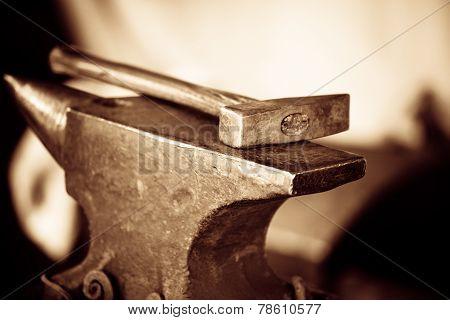Tools- Hammer On Blacksmith Anvil