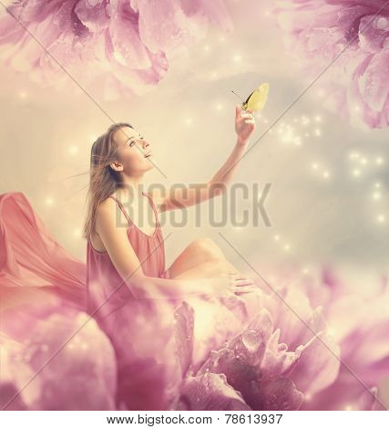 Beautiful Young Woman With Small Butterfly