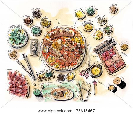 Korean Bbq Illustration Colour