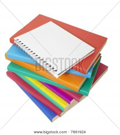 Colorful Books Stack  And Notebook Education