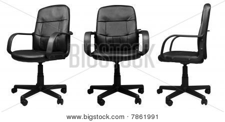3 Different Angles Of Office Leather Chair Isolated On White Background